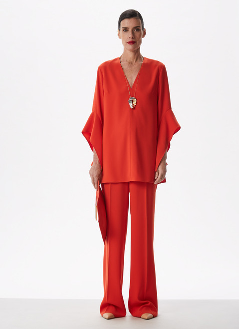 Red Bell Sleeve Shirt With V-Neckline