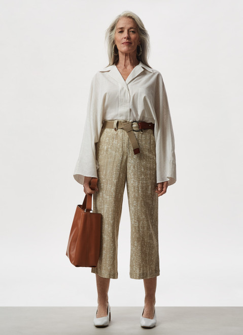 Sand Linen And Cotton Crop Trousers