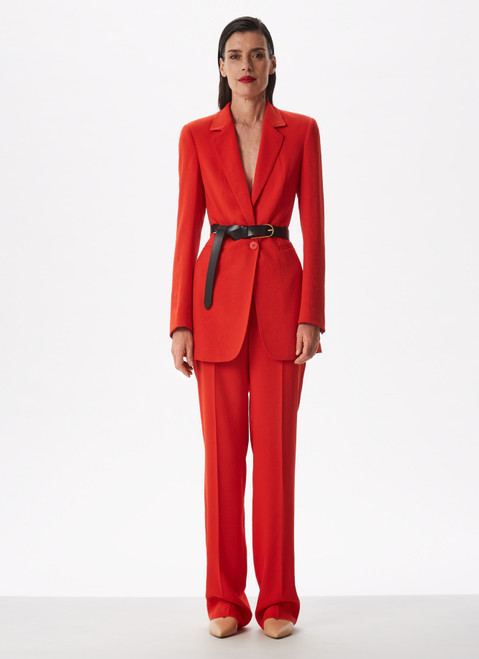 Red Straight Fluid Trousers