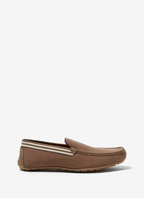 SAND NUBUCK LEATHER MOCCASIN WITH RUBBER SOLE