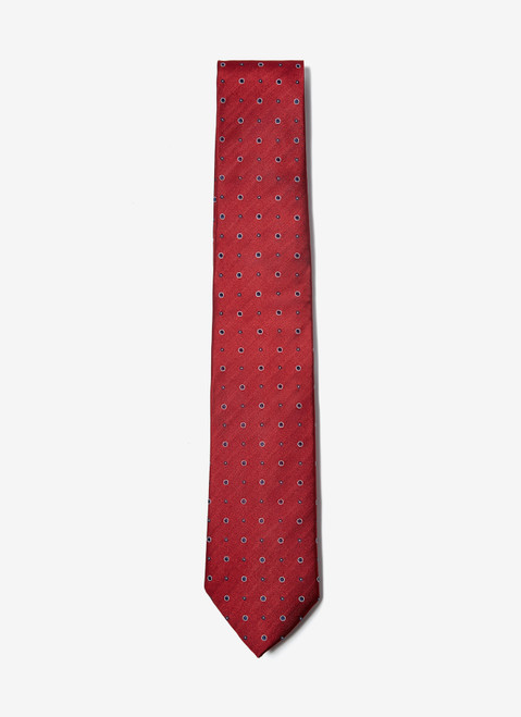 Red Mulberry Silk Tie With Polka Dot