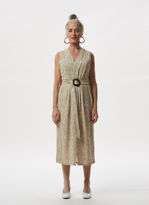 SAND LINEN AND COTTON DRESS WITH BELT