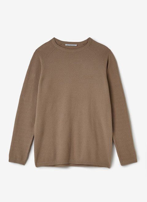 Sand Cotton Sweater With Striped Texture