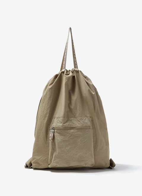 SAND NYLON BACKPACK WITH LOGOED HANDLES