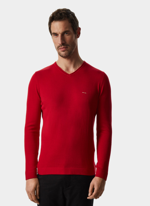 RED V-NECK ORGANIC COTTON SWEATER