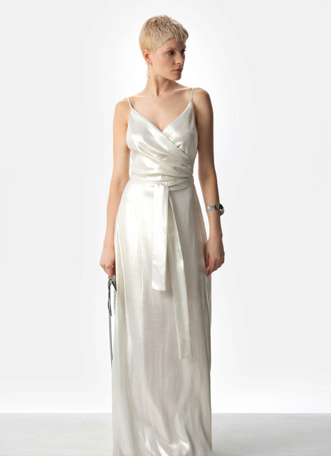 SILVER COLOR LONG DRESS WITH HEART NECKLINE