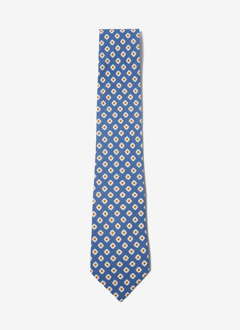 Sky Blue Tie With Geometric Patter