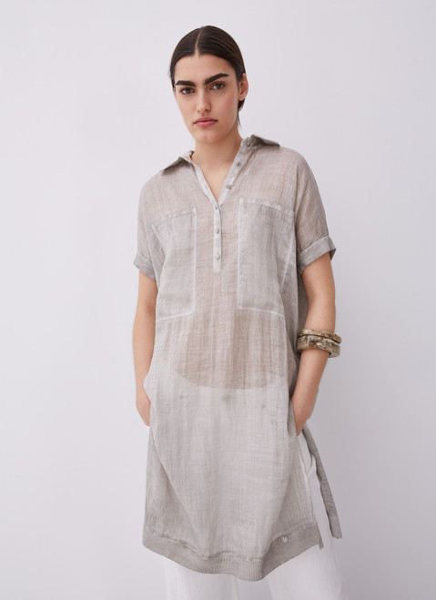Stone Ramie And Linen Long Blouse