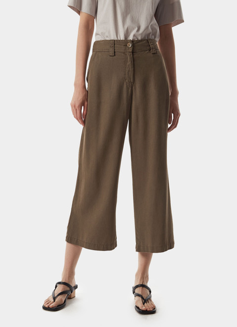 Taupe Straight Lyocell Trousers