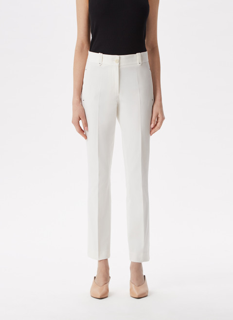 White Ankle Length Elastic Trousers