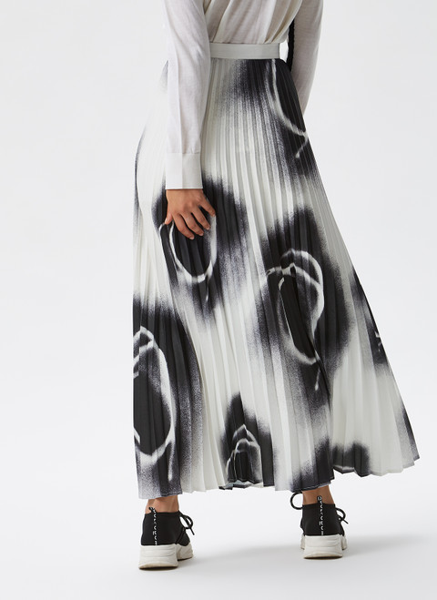BLACK AND WHITE PLEATED MIDI SKIRT WITH PRINT