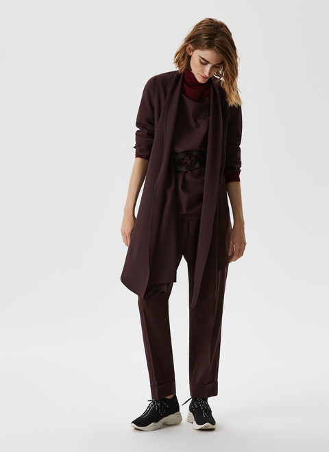 Aubergine Ankle-Length Trousers With Front Darts
