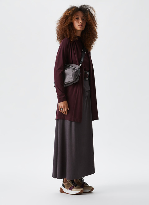 AUBERGINE KNIT TOP WITH PERKINS COLLAR