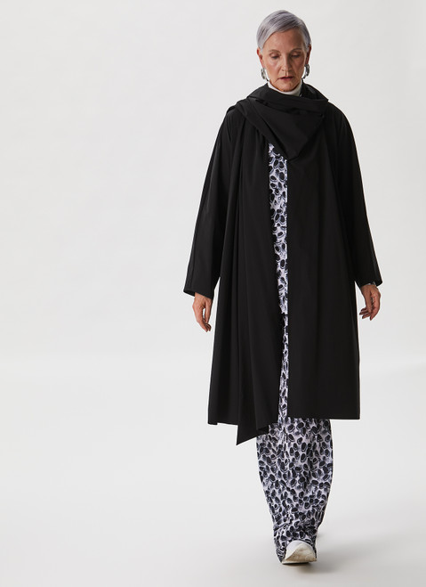 BLACK AND WHITE WIDE TROUSERS WITH SIGNATURE PRINT