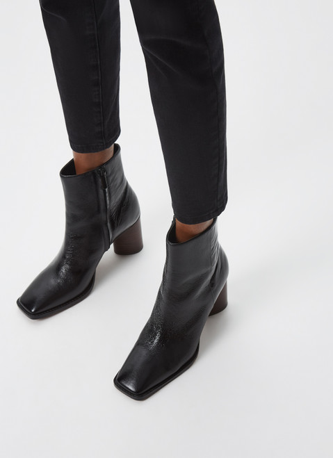 Black Bovine Leather Ankle Boots