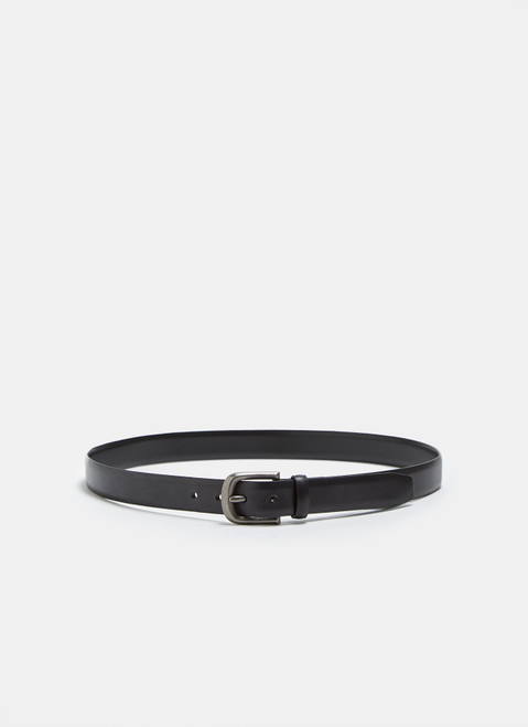 Black Classic Leather Belt With Metal Buckle