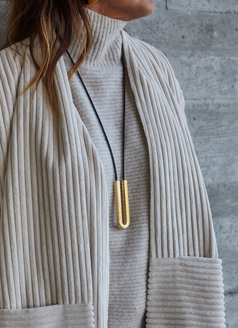Black Cord Necklace With Gold U-Shape Metal Pen