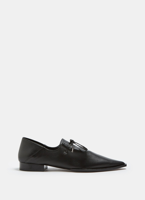 Black Leather Blucher With Draping Vamp