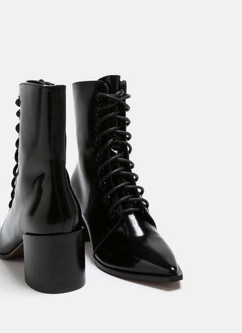 Black Patent Leather Lace-Up Ankle Boots