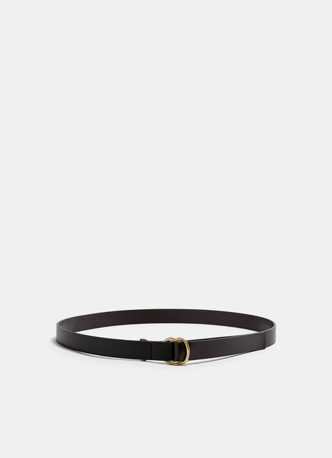Black/Grey Leather Belt With Double Ring Closure
