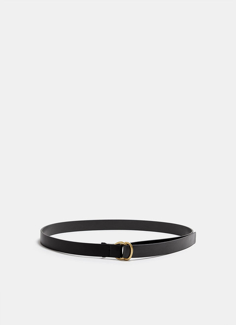 Black/Brown Leather Belt With Double Ring Closure