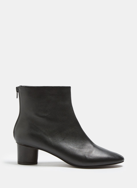 Black Soft Leather Ankle Boots With Cuban Heel