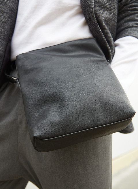 Black Textured Crossbody Bag With Front Pocket