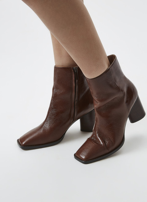 Brown Bovine Leather Ankle Boots