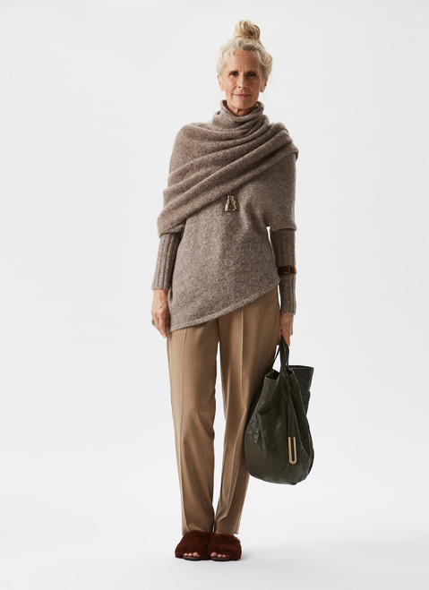 Camel High-Rise Straight Trousers
