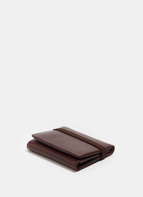 Brown Leather Wallet With Elastic Closure