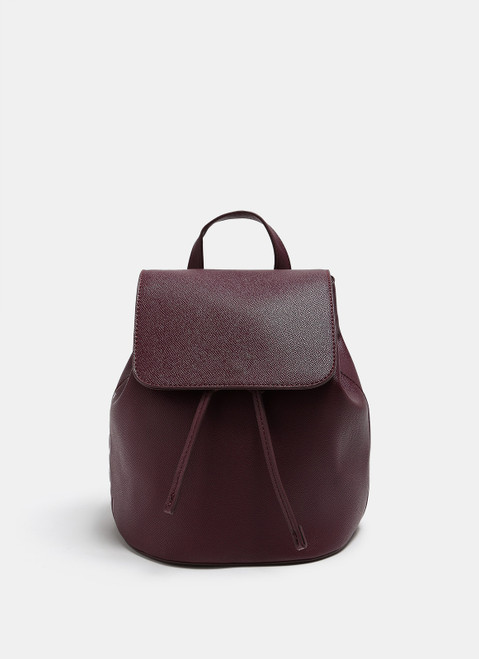 Burgundy Saffiano Faux-Leather Backpack With Logo