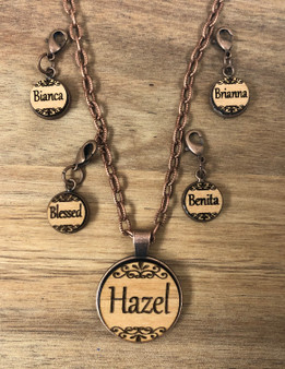 12 mm Name Charm on wood