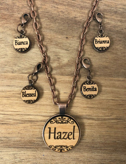 16 mm Name Charm on wood