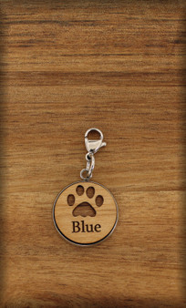 16 mm Dog / Cat Charm on wood with Pawprint