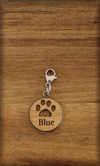 20 mm Dog / Cat Charm on wood with Pawprint