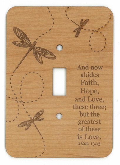 Dragon fly décor and I Cor 13.13 Bible Verse single lightswitch switch plate for your wall