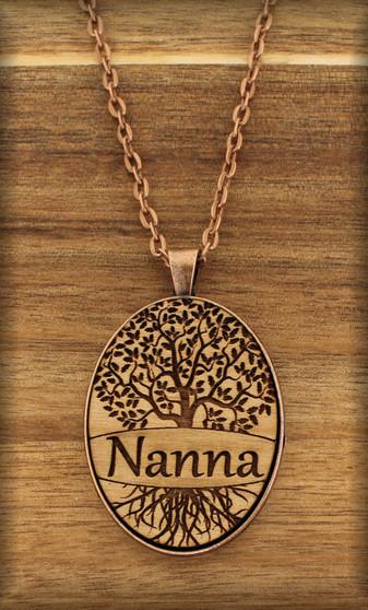 38 mm oval Grandmother Pendant Charm on wood - Tree of Life