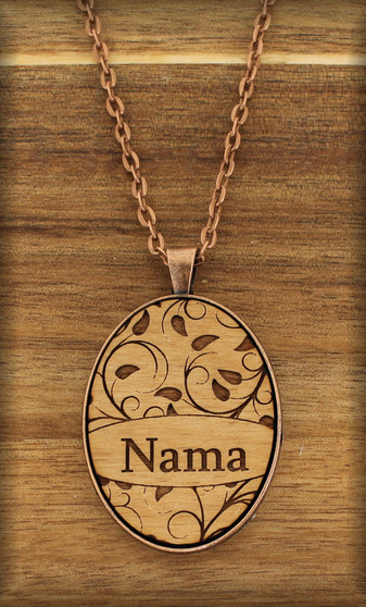 38 mm oval Grandmother Pendant Charm on wood - Leaf Design