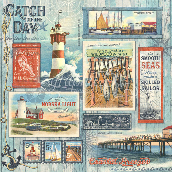 """CATCH OF THE DAY 12"""" Paper Pad & Sticker Set"""