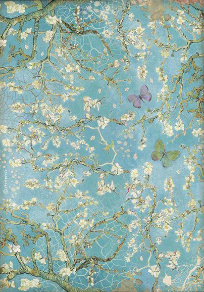 Atelier Blossom Blue Background with Butterfly