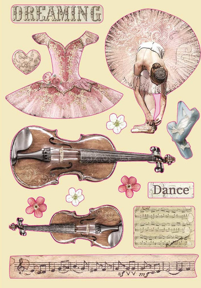 Passion Violin & Dance Coloured Wooden Shapes A6