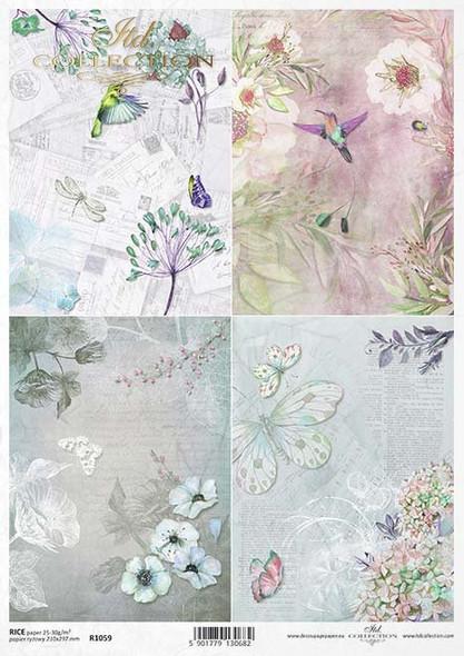 Humming Birds, Flowers & Butterflies