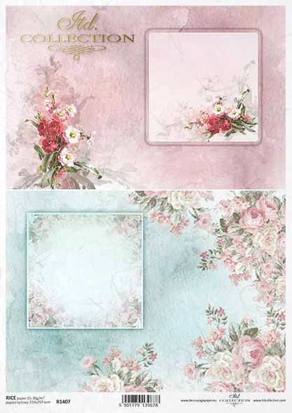 Pink & Blue Flowers & Frame