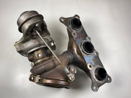 08 BMW 535i N54 FRONT EXHAUST MANIFOLD TURBO CHARGER 7649292