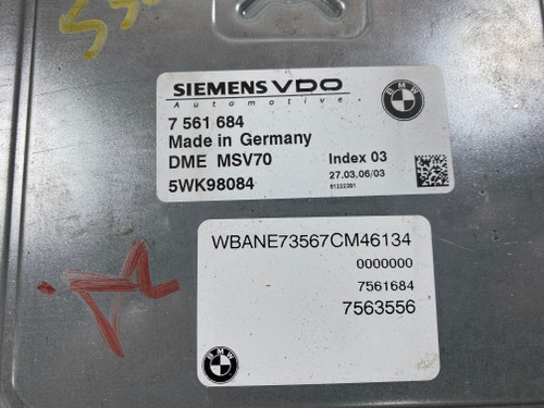 06 BMW E60 530i 525i E90 330i 325i N52 Engine DME MSV70 CAS 2 W/ KEY 7561684