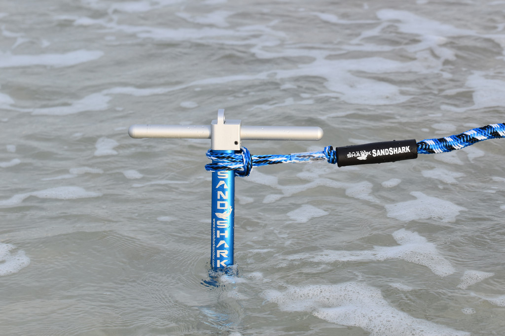 """ULTIMATE PWC Premium Sand Anchor. Proven to Hold and Protect Watercraft. Shallow Water, Beach, or Sandbar Anchor for Jet Ski or Waverunner. Adjustable 18"""" to 31"""", Padded Case, by SandShark."""
