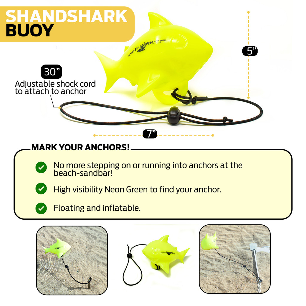 SandShark Floating Anchor Marker Buoy Shark Shaped Markers for Anchors at The Beach, Lake, or Sandbar Water. High Visibility-Find Your Anchor-Prevent Accidental Hitting or Stepping on Anchors!