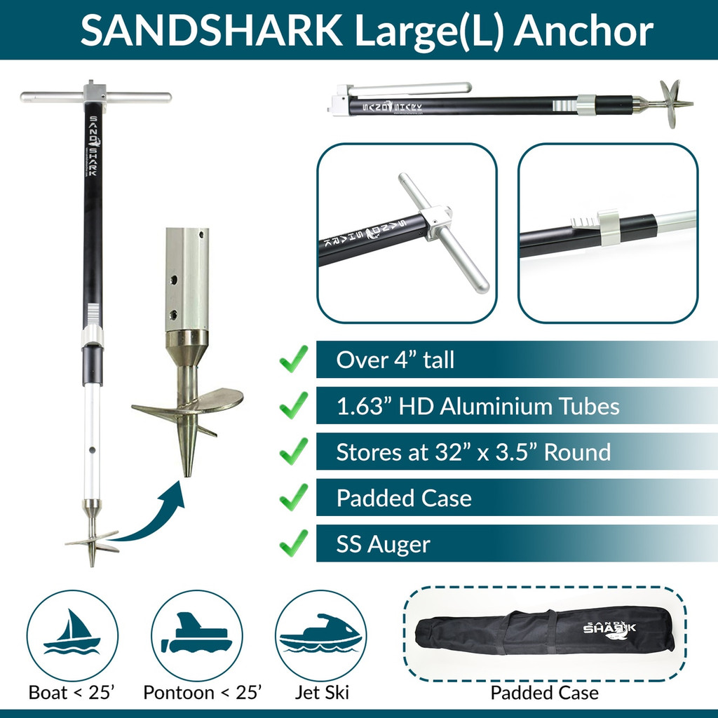 Ultimate Large Boat Sand Anchor by SandShark. Adjustable, Folds Up for Compact Storage. Screw Auger Design Holds & Protects Boats and Pontoons. Secures in Shallow Water, Beach, Sandbar w/Case IN STOCK