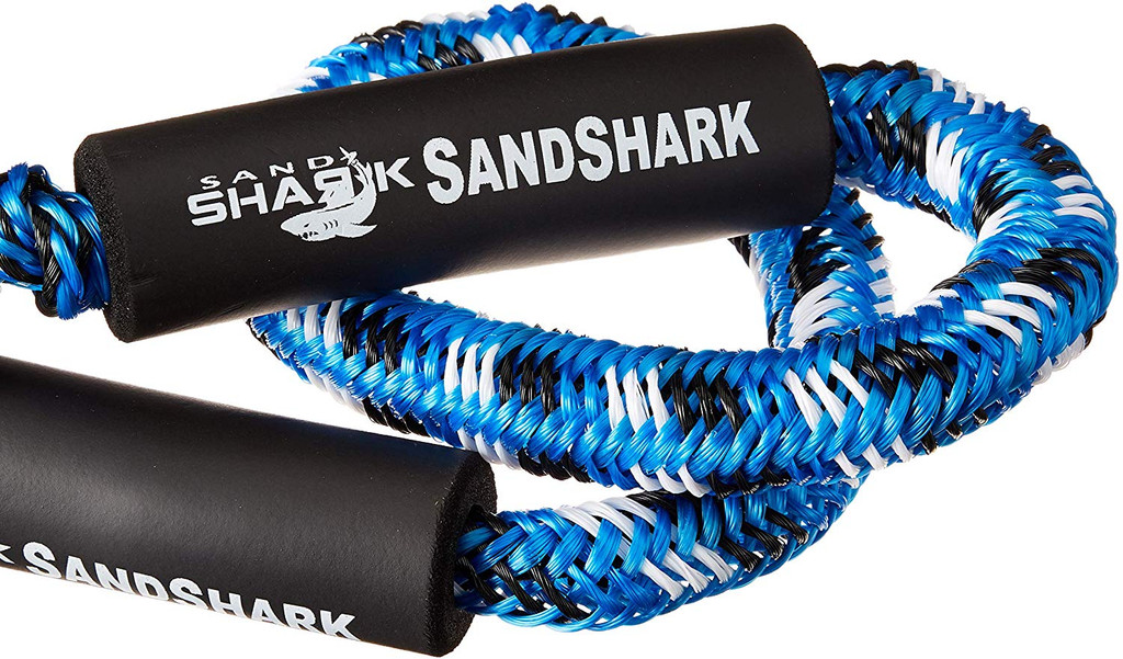 Premium Bungee Dock and Anchor Line By SandShark. Available in sizes 4-5.5', 5-7', 6-9' and Blue or Black color. Absorbs Shock to Cleats, Docks, Pylons, and Anchors. Stretches to Reduce Pull.  Great For Your Boat, Pontoon, PWC, Jet Ski, or Kayak.