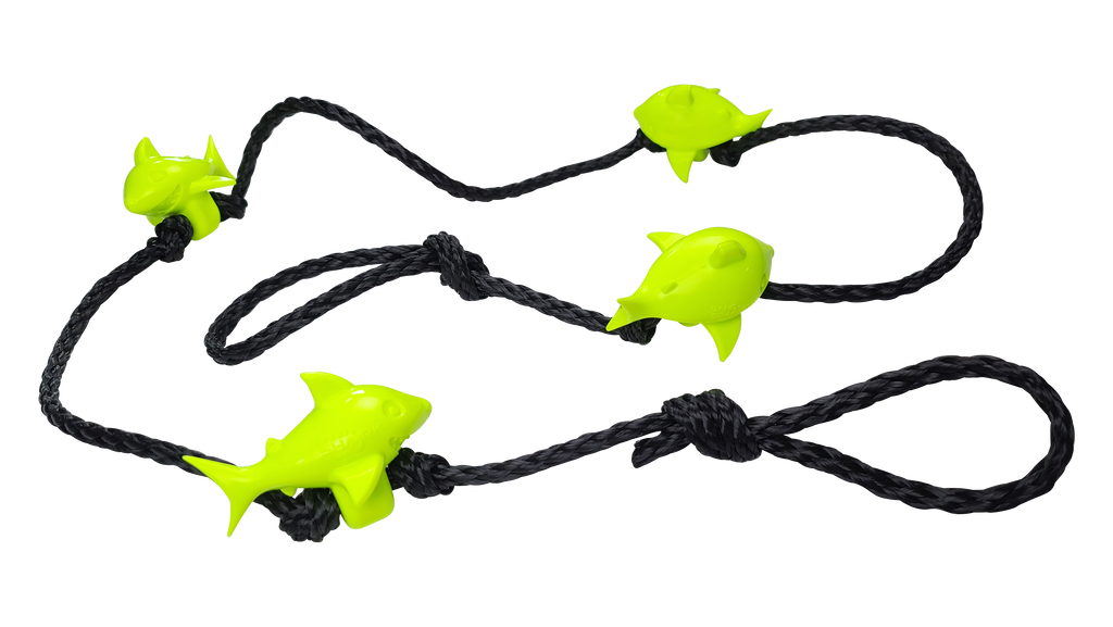 No-Scratch 6ft 3.8lb Shark Anchor Rode Line, 4 Shark Weights Knotted with 1/2in Hollow Braid Line Rope and Eyelets, No More Anchor-Chain Scratches on Your Watercraft